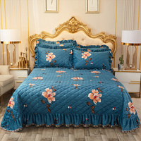 Luxury Velvet Soft Quilted Bedspread with Pillow shams Vibrant Floral Printed Coverlet Bed Cover set Oversize Queen King 3/5Pcs