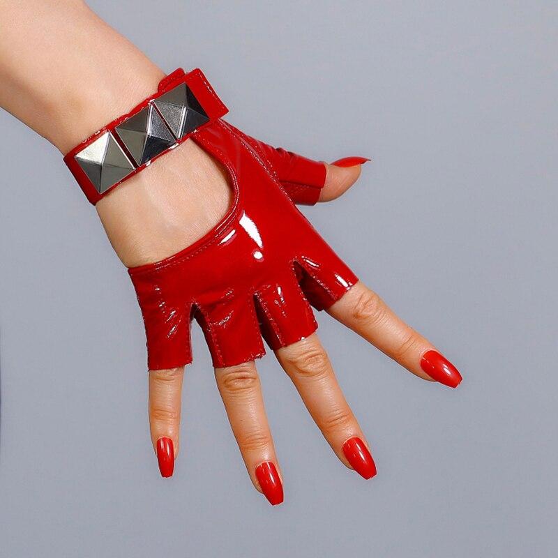 100% REAL PATENT LEATHER Fingerless Short Gloves Red Silver Studs Half Finger Women Semi-Finger Gloves WZP33