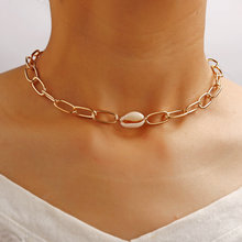 Vintage Shell Metal Horsewhip Chain Choker Necklace For Women Female Personality Alloy Retro Clavicle 2020 Hot