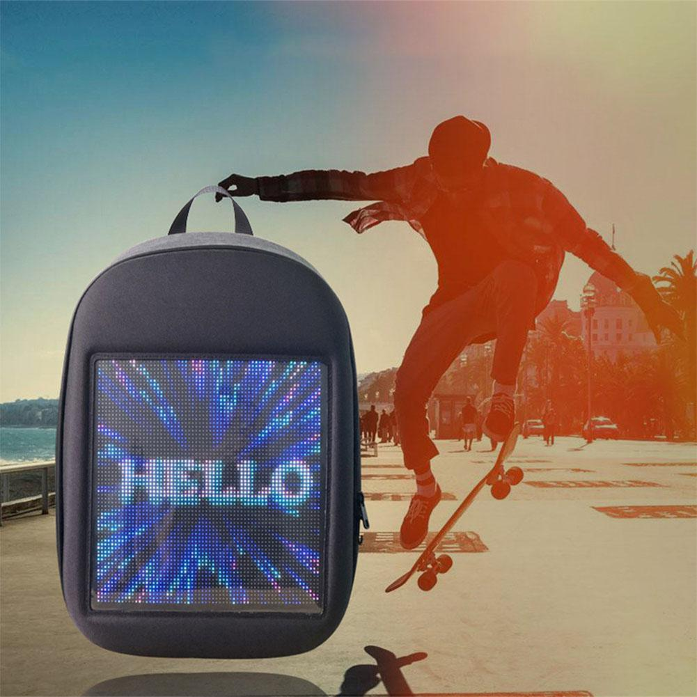 MeterMall LED Screen Display Backpack DIY Wireless Wifi APP Control <font><b>Advertising</b></font> Backpack Outdoor LED Walking Billboard Backpack image