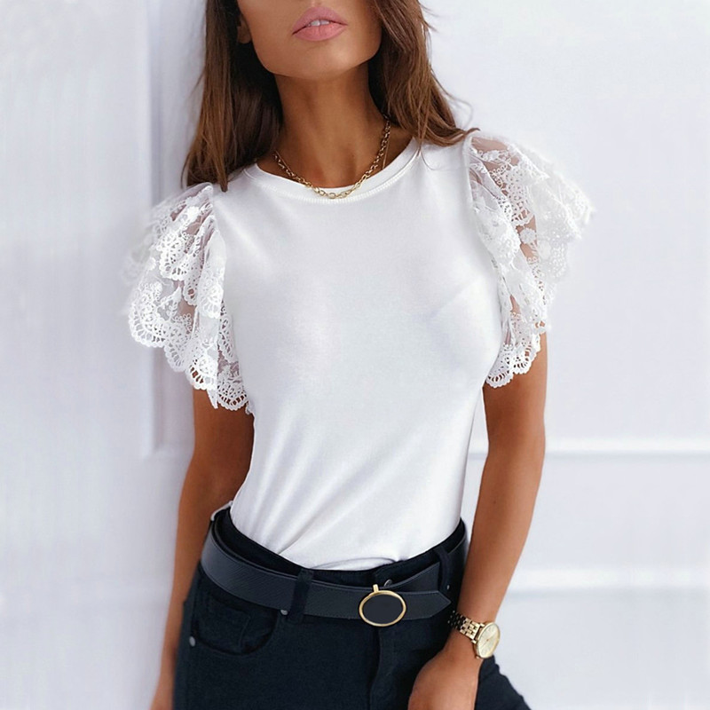 Summer Lace Patchwork Slim T-Shirt Women Ruffles Short Sleeve Tees 2020 Elegant Casual Solid Tops Ladies O Neck White Black Tops