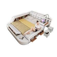 Горячая Распродажа, американский современный спальный комплект, Многофункциональная Кожаная Массажная кровать