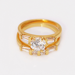 MxGxFam CZ 2 Rings Set For Women 24 k Pure Gold color Jewelry AAA+ Cubic Zircon