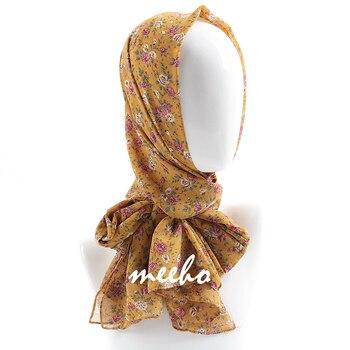 Women printed chiffon hijab scarf soft floral muslim chiffon hijab head scarf wraps new