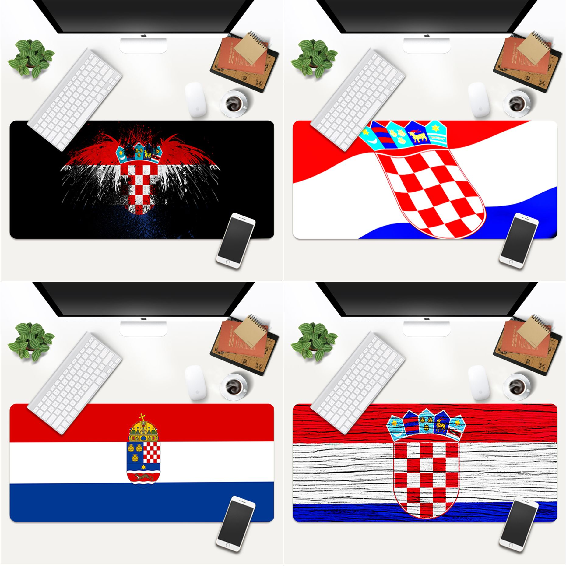 Your Own Mats Croatia flag Anti-Slip Durable Rubber Computermats Gaming Mouse Pad Large Deak Mat 700x300mm for overwatch/cs go