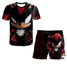 Sonic T Shirt Boys Tshirts And Pants Children's Clothing Sets Kids Girls Tops Tees Baby Clothes Short Sleeve Teen Girls Shirts