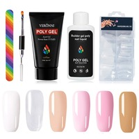New 5 Pcs/set 6 Colors Poly Gel Nail Extension Gel Dressing Tool Multicolor Extended Gel Quick Suit Fast Drying Poly Gel Nail B