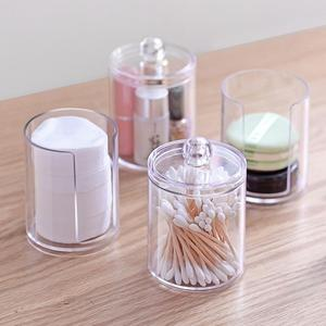Plastic Cotton Swab Box Storage Box Crystal Cotton Pad Box Transparent Jewelry Box Portable Travel Makeup Cosmetic Organizer