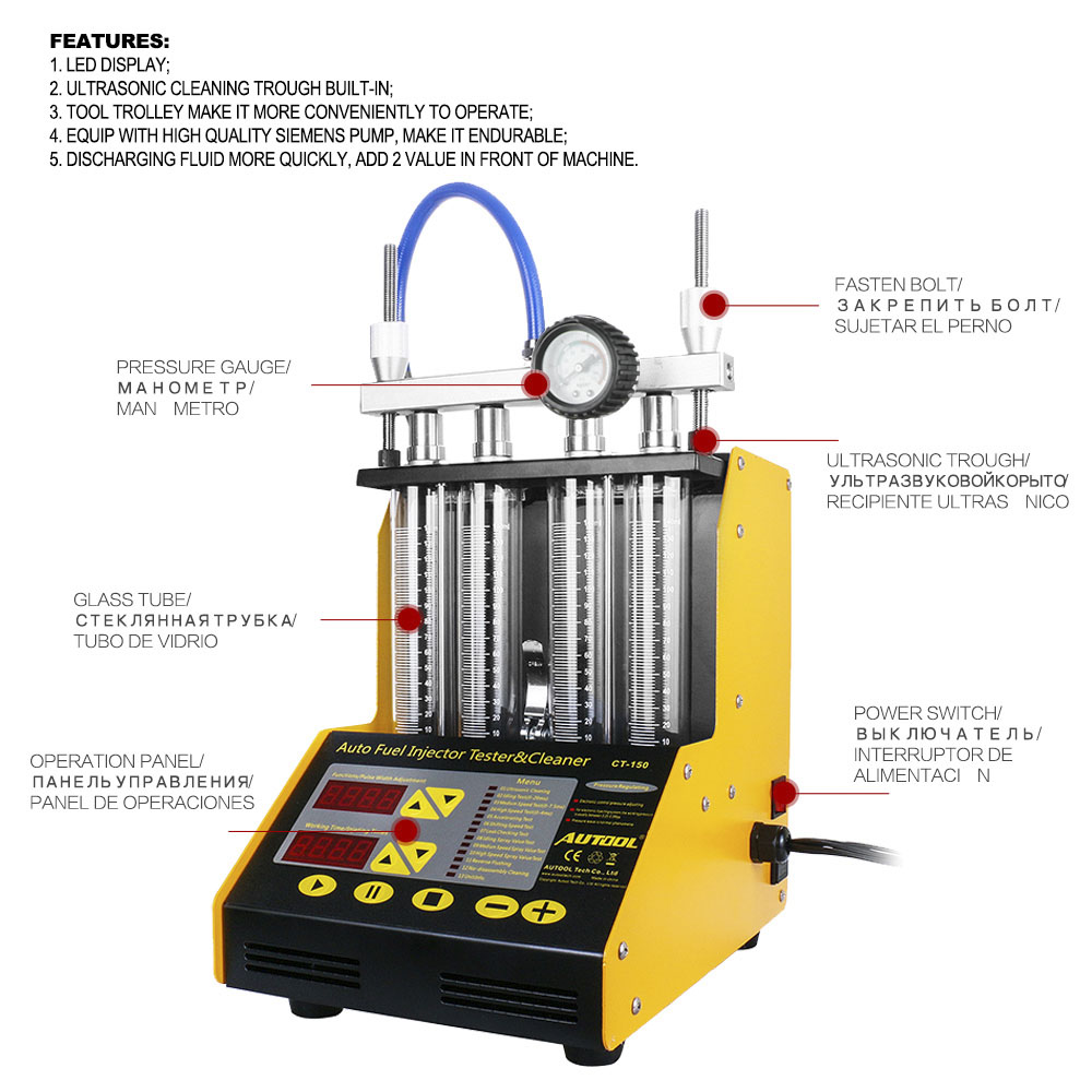 Enjoyable Autool Ct150 Car Fuel Injector Tester Cleaning Machine Injector Cleaner Test Ultrasonic Gasoline Auto Tool 110V 220V 4 Cylinders Andrewgaddart Wooden Chair Designs For Living Room Andrewgaddartcom