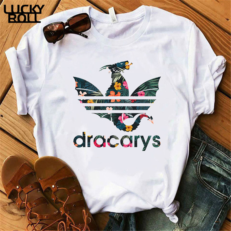 Female Mother Of Dragon Tops Tee Dracarys T-Shirt Harajuku Khaleesi Camisetas Daenery Dragon  Summer Clothing
