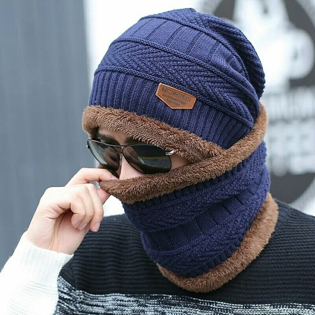 JRNNORV Dropshipping Women's Knitted Hat Scarf Caps Neck Warmer Winter Hats For Men Women Skullies Beanies Warm Fleece Cap Gift