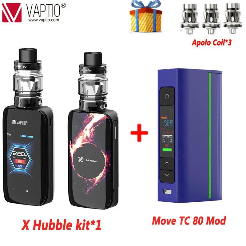 Electronic Cigarette Vaptio X-Hubble Apolo Kit 220W VW TCR Mod Temperature Control 5.0ml Tank Box Mod Vape Box Kit Fashion Gifts