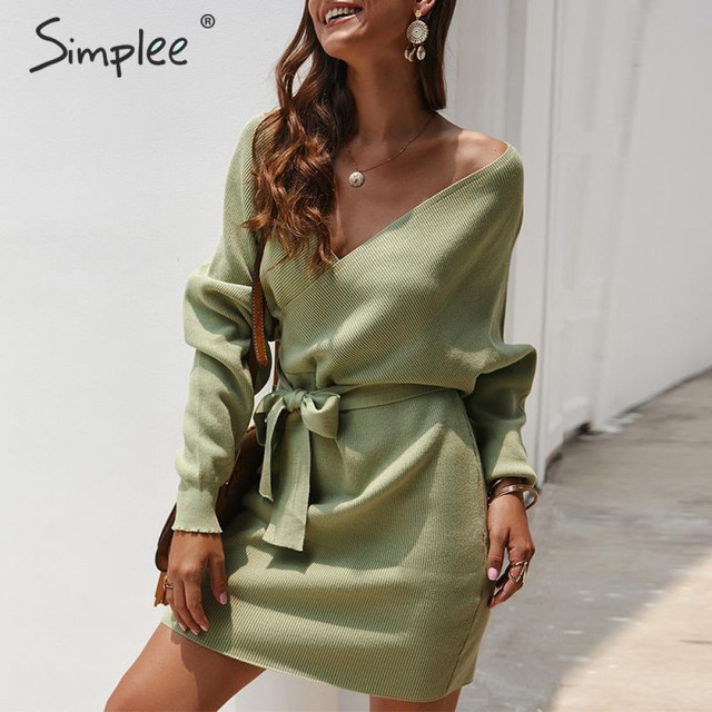 Simplee Vestido corto de punto para mujer, vestido con cuello en V y cinturón, vestido informal vintage de talle alto para oficina para Otoño e Invierno