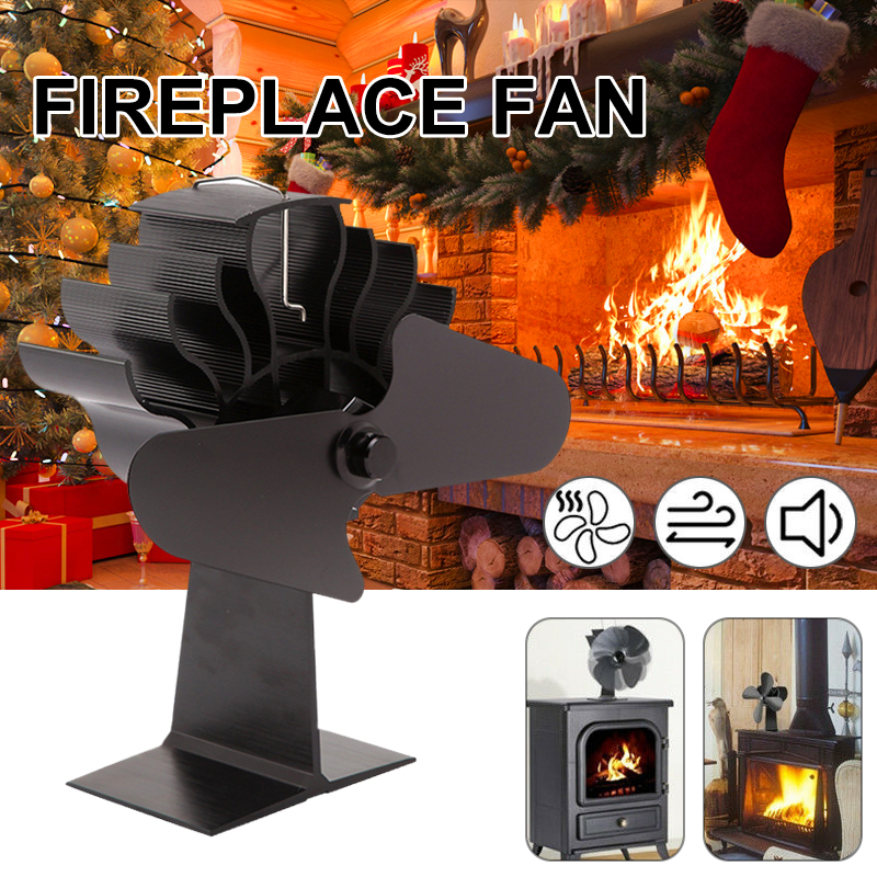 4 Blades Thermal Power Stove Fan Log Wood Burner Ecopan Silent Black Household Fireplace Efficient Fan Heat Distribution
