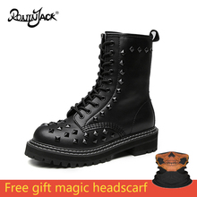 Women Motorcycle Boots Autumn Winter Punk Platform Genuine Leather Booties White Casual Shoes Rivets Martin Rock Female