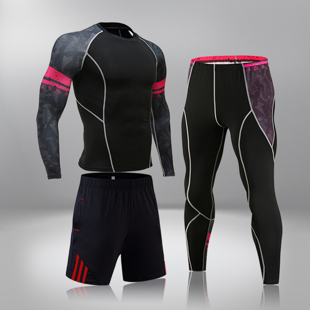 High-End Men's Brand Sports Riding 3 Set MMA Tactical Leggings Solid Color Clothing Compression Fitness Long Johns Winter Suit 1