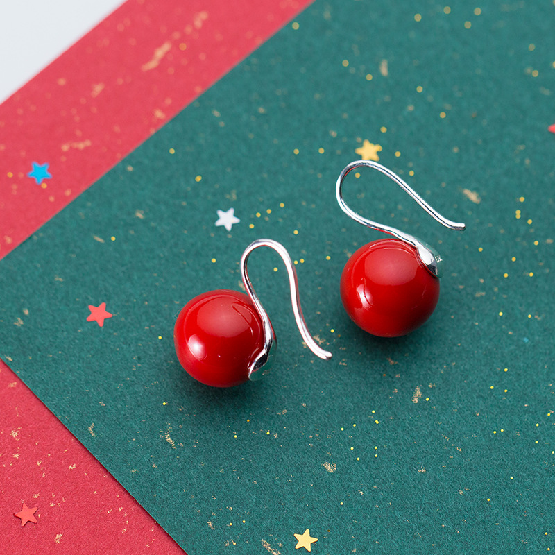 Red Round Shell Pearl Drop Earring 925 Sterling Silver Christmas Dangle Earring Woman Jewelry pendientes mujer moda 2019