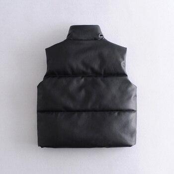 2021 Autumn Winter Women Black Faux Leather Jackets Fashion Zipper Sleeveless Coat Tops Female Casual Warm Outwear Ladies 5