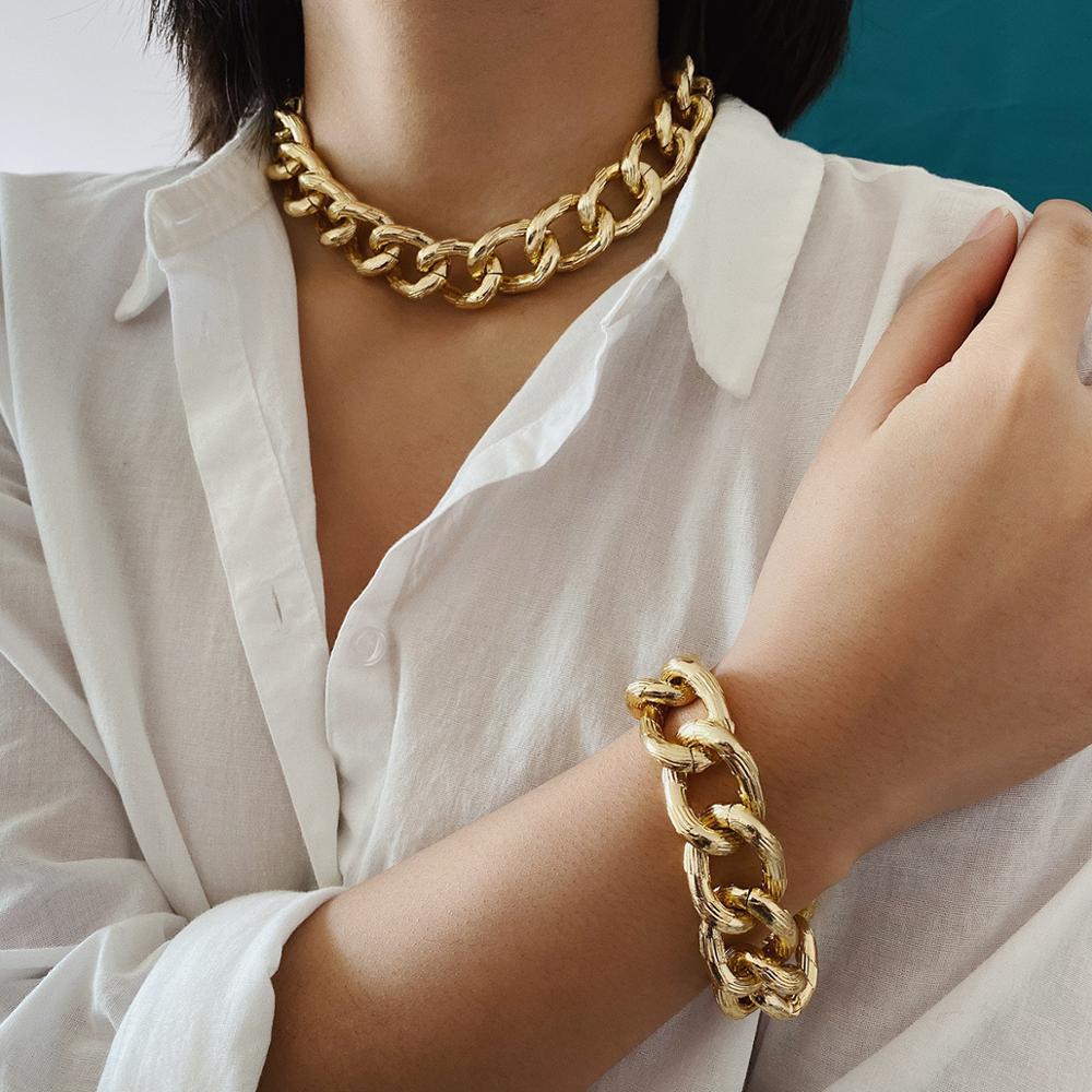 Hip Hop Exaggerated Cuban Big Chunky Chain Necklace & Pendant Bracelet NE+BA Steampunk Maxi Lock Choker Men Women Jewelry Set