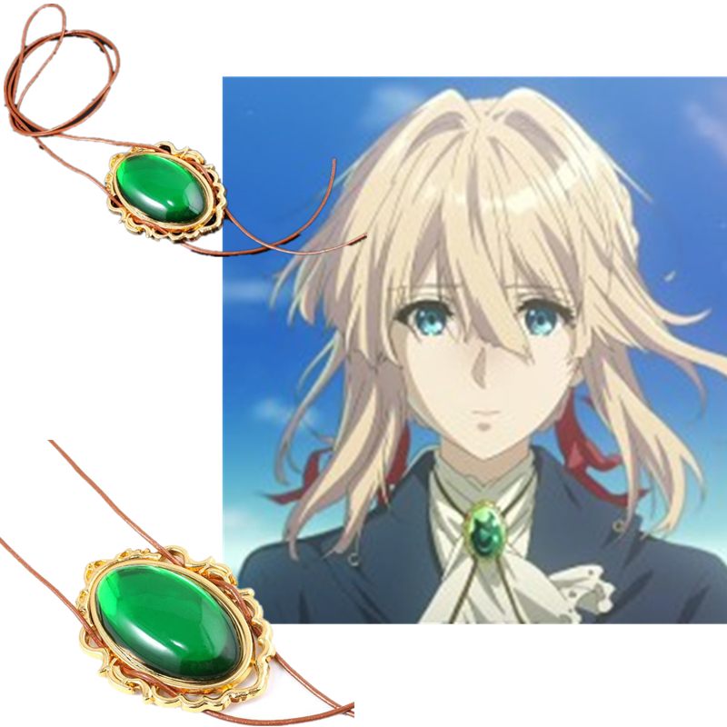 Cartoon Anime Periphery Violet Evergarden Emerald Necklace Halloween Masquerade Cosplay Prop Accessories Christmas Present