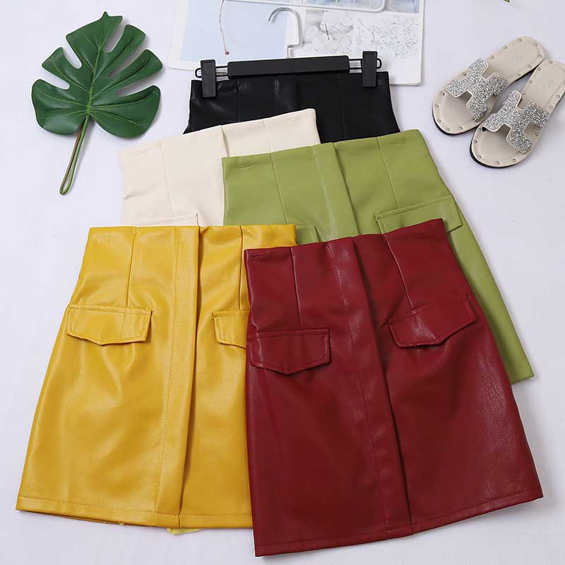 2020 Autumn Spring New Female Solid Color Pockets PU Leather Pencil Skirts Women's Slim High Waist Sheath Package Hip Skirt