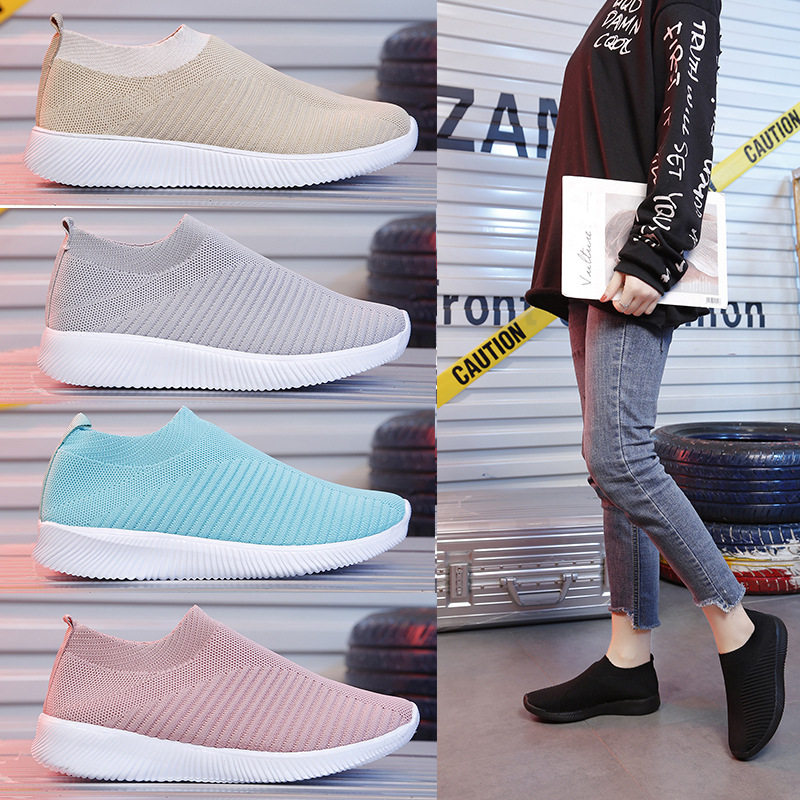 Sneakers Women 2020 Spring Summer New Fashion Casual Breathable Flats Woman Slip-on Large Size 35-43 Sports Mesh Shoes Female