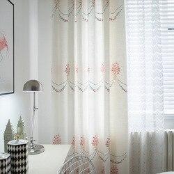 Nowoczesne zasłony do salonu jadalnia sypialnie w stylu chińskim imitacja bawełny konopie i haft bambusowy białe firany tiulowe