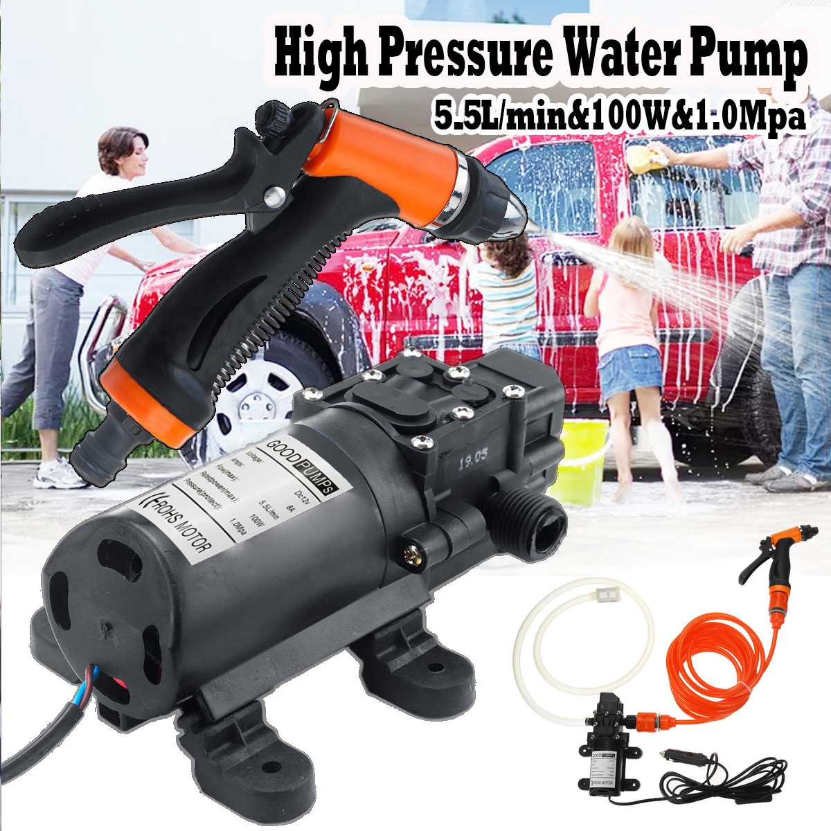 Water Pump 12V 100W 5.5L/Min Stable High Pressure Diaphragm Water Pump Sprayer Car Wash 12 V Self Priming Water Pump image