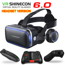 Original VR shinecon 6.0 headset version virtual reality glasses 3D glasses headset helmets smartphone Full package + controller(China)