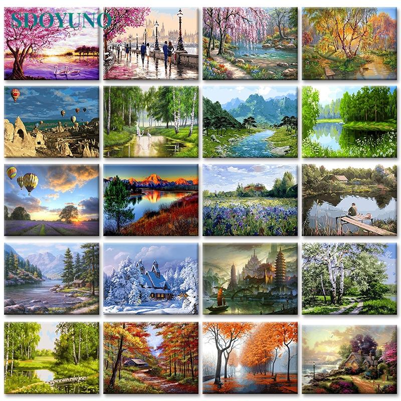 SDOYUNO 40X50 ซม.ภาพวาด Frameless โดยตัวเลขภูมิทัศน์ธรรมชาติผ้าใบภาพโดยตัวเลขตกแต่งบ้าน DIY สำหรับที่ไม่ซ้...