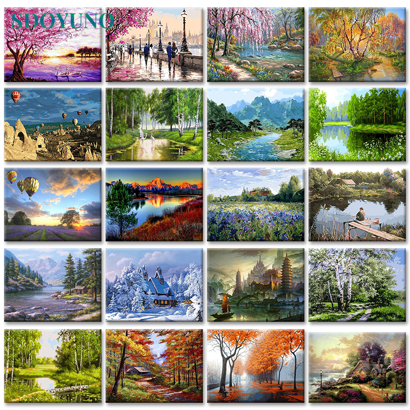 SDOYUNO Canvas-Pictures Frameless-Painting By Numbers Landscape Unique Gift Home-Decoration title=