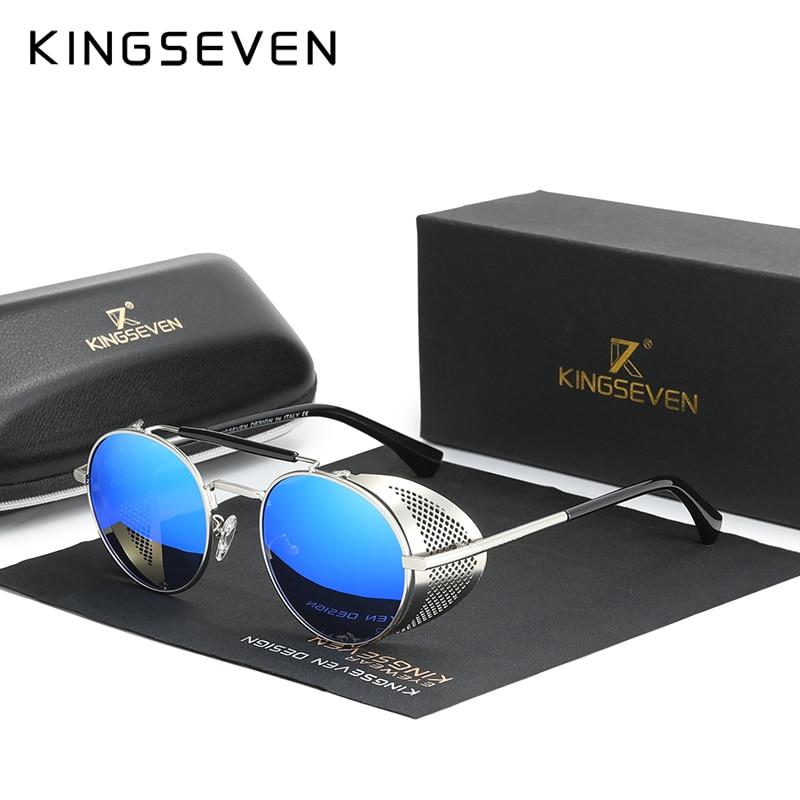 Genuine KINGSEVEN Retro Round Steampunk Sunglasses Men Retro Women Sun Glasses Shades Vintage Travel Eyewear Gafas De Sol 7550 9