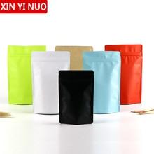 50pcs Color Matte Aluminum Foil Self Sealed Packaging Bag Coffee Bean Biscuit Baking Self Adhesive Frosted Food Bag Logo Custom