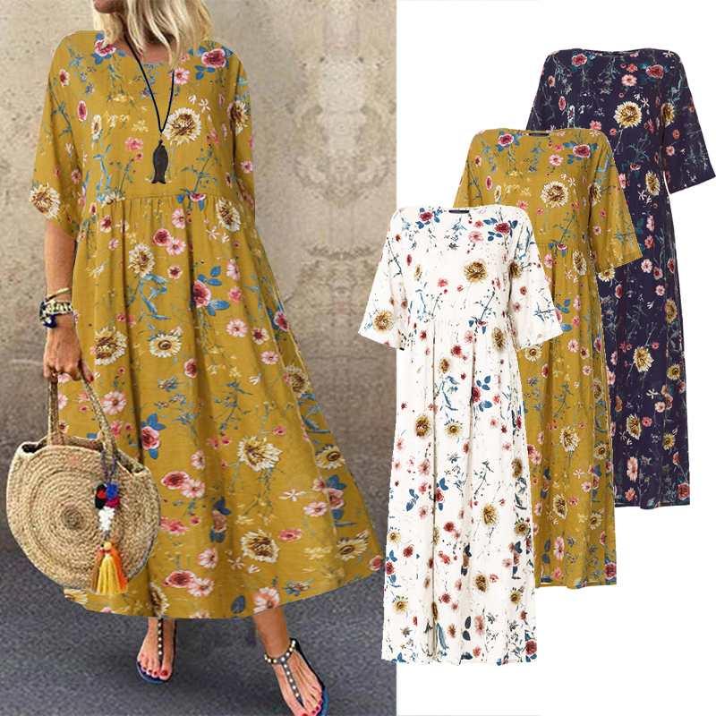 ZANZEA Women Summer Sundress Bohemian Printed Dress 2021 Fashion Casual Vestidos Long Maxi Dresses Beach Robe Femme Plus Size