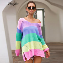 Fitaylor New Rainbow Colorful Stripe Print Women Autumn Winter Hollow Out Hole Knitted Sweater Pullover V Neck Loose Jumper(China)
