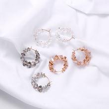 Простые прозрачные полностью хрустальные круглые серьги кольца