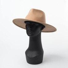 2019 Autumn and Winter Felt Hat Fedoras Cap Big Hat Gorra Wool Hat Hat Big Jazz Hat Ladies Flat Fedoras Men Wool Felt Hat britain fuzzy ball embellished felt horseman hat