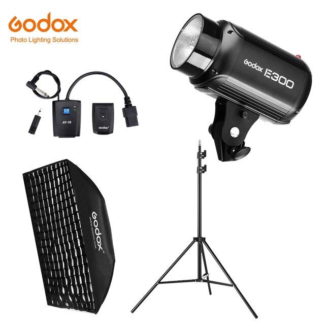 Godox E300 300Ws fotografia błyskanie studyjne światło stroboskopowe + 50x70 cm plaster miodu + 180cm lekki statyw + AT 16 wyzwalacz Flash Kit