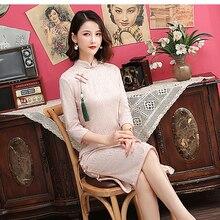 Кружевное Ципао с кисточками для женщин, винтажные китайские традиционные платья с пуговицами, воротник-стойка, сексуальное Qipao, с коротким рукавом, длинные платья