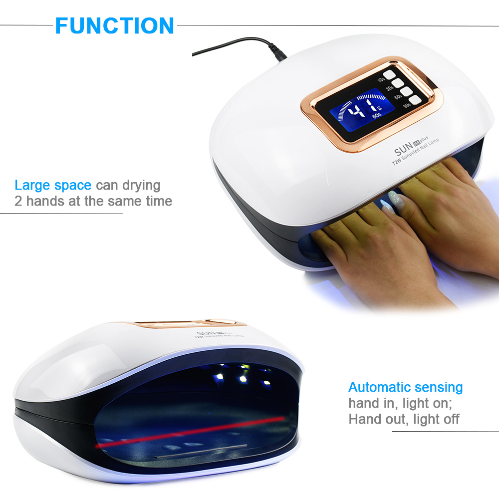 Image 2 - 72W UV Lamp LED Nail Lamp Nail Dryer For Manicure Machine Curing Nail Gel Polish Auto Sensor Two Hand Lamp Nail Art Tools-in Nail Dryers from Beauty & Health