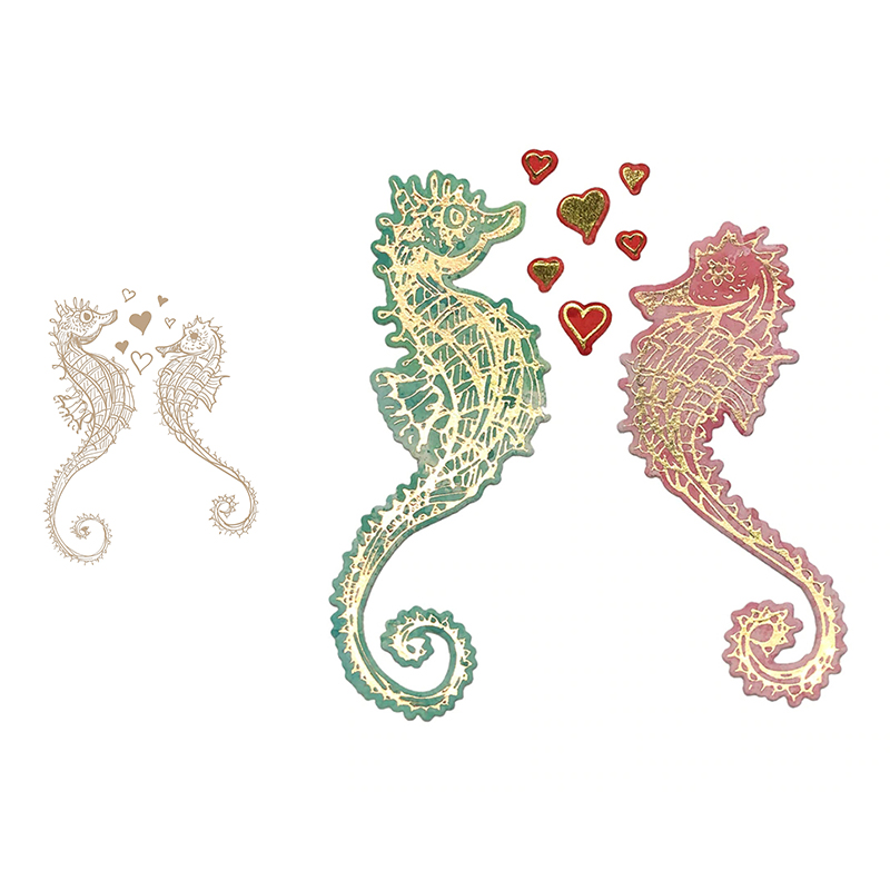 Seahorse HOT FOIL PLATE Silver Metal Cutting Dies DIY Scrapbooking Stencils Hot Stamp Foil 2019 New Embossing