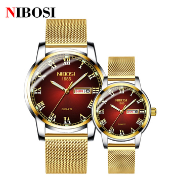 NIBOSI 2021 Couple Watches for Lovers Quartz Wristwatch Fashion Luxury Men Watch for Women Watches Couple Gold Relogio Masculino couple watches for lovers luxury wood watch mens fashion wooden women dress clocks gifts for valentine s day relogio de casal