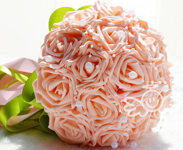 Cheapest PE Wedding Bouquet Foam Rose Flowers with Pearl Bridal Bouquet Multi-color Ribbon Wedding Flowers Bridal Bouquets