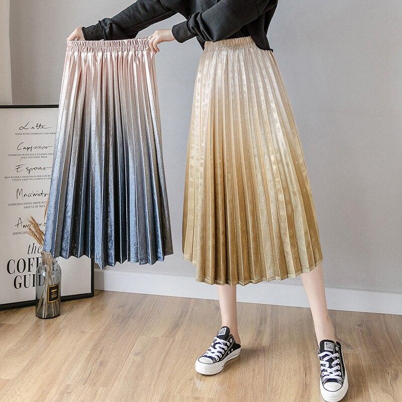 613 # Photo Shoot Autumn And Winter Gradient Gold Velvet Skirt Pleated Skirt Women's Mid-length High-waisted Versatile Retro Lon