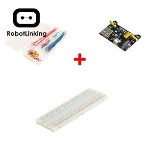 MB102 Placa de alimentación de + 830 punto Breadboard + 140 Uds en forma de escudo Placa de alambre de puente Kit para Arduino