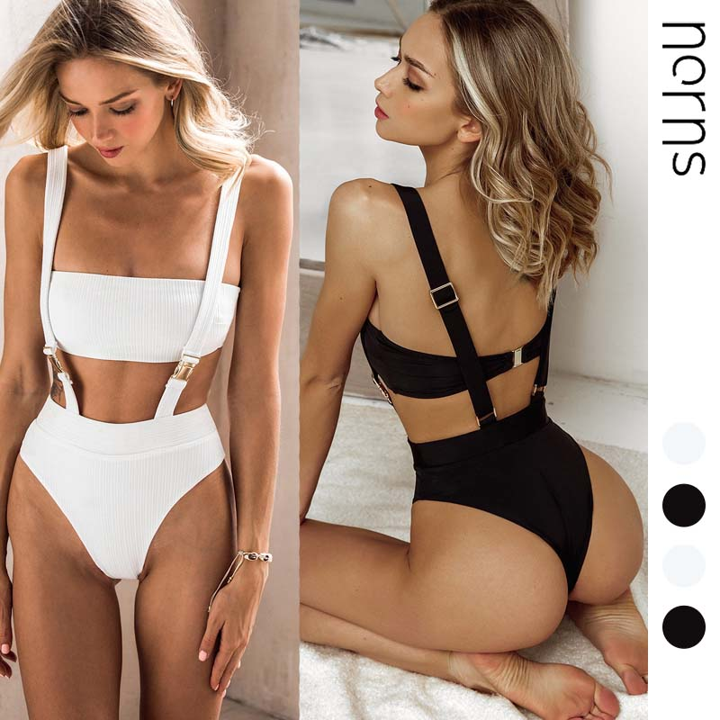 Norns New Solid Color Pit Strip Strap Belt Buckle Integrated Bikini One-piece Swimsuit Sexy Swimsuit