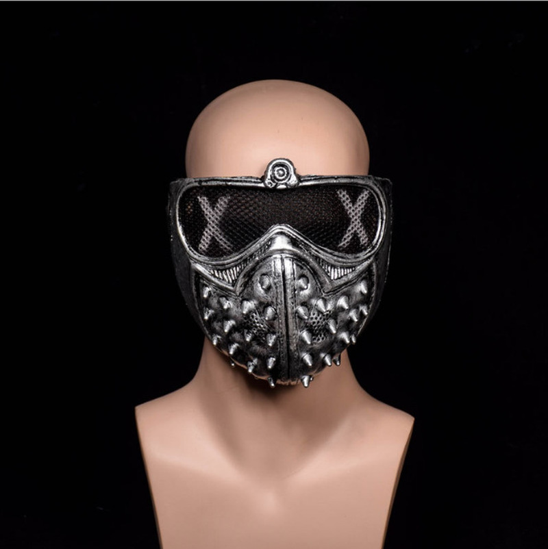 1pc Half Face PVC <font><b>Masks</b></font> Party Cosplay Props Game <font><b>Watch</b></font> <font><b>Dogs</b></font> <font><b>2</b></font> WD2 <font><b>Mask</b></font> Marcus Holloway <font><b>Wrench</b></font> Cosplay Rivet Face <font><b>Mask</b></font> image