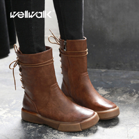 Women Boots Short Fashion Mid Booties Mid calf Casual Retro Vintage Round Toe Nonslip Back Lace Up PU Leather 6 Inches 8 Ladies