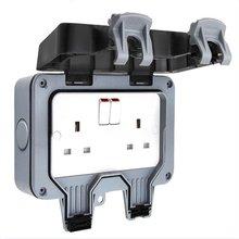 Outdoor Waterproof Socket Box Ip66 Switch Socket Splash Power Plug-In Rainproof Plug Two Open English 13A стоимость
