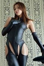 Соблазнительный костюм из искусственной кожи wetlook с длинными перчатками и брюками, боди из ПВХ и латекса, Клубная одежда с открытой промежно...